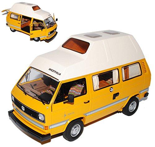 Schuco Volkwagen T3 Joker Bus Transporter Camping mit Hochdach Gelb 1979-1992 1/18 Modell Auto mit individiuellem Wunschkennzeichen