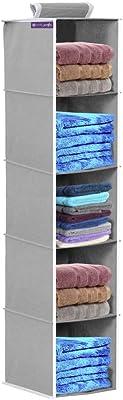 PrettyKrafts 5 Tiers Clothes Hanging Organizer, Wardrobe for Regular Garments, Shoes Storage Cupboard, Hanger Bag - Beige
