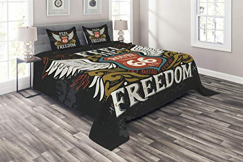 Ambesonne Motorcycle Coverlet, Biker Motto Feel The Freedom Grunge Hand Drawn Illustration American Culture, 3 Piece Decorative Quilted Bedspread Set with 2 Pillow Shams, Queen Size, Charcoal White