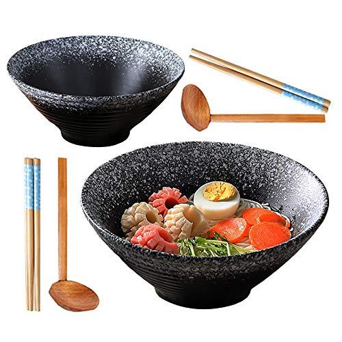2X Tazón De Ramen Japonés De Cerámica, 9Inch/1500ml, Tazón Sopa Grande con Cuchara Palillos a Juego, Cuenco Cereal, Cuenco Ensalada, Udon, Soba, Asian Fideos.