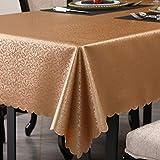 Ahuike Abwaschbar Tisch Decke Einfach Faltenfrei und Wiederverwendbar Geeignet für Home Küche Dekoration Verschiedene Größen Tiefer Champagner 140×140cm