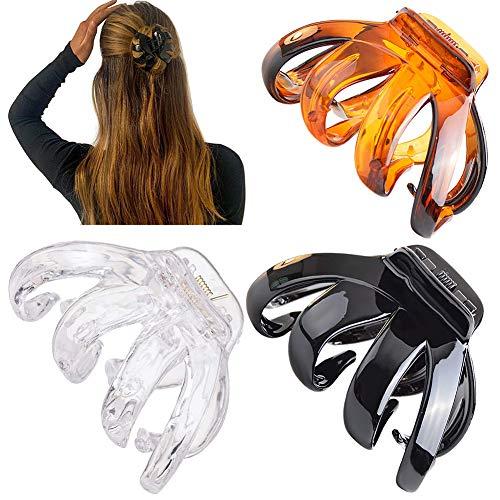 i-Found Lot de 3 grandes pinces à cheveux antidérapantes en forme de pieuvre - Pinces à cheveux solides - Accessoires de coiffure pour femme et fille
