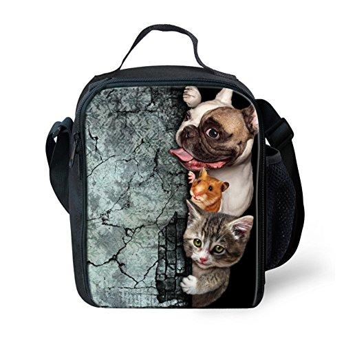 Nopersonality mignon Impression Animal Animal de chien de travail bureau Sac à déjeuner à l'école Nourriture Lot, Polyester, Couleur 8, Taille M