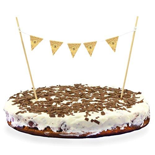 Oblique Unique® Torten Wimpel Kuchen Cake Muffins Dekoration Wimpelkette - Farbe wählbar (Gold)