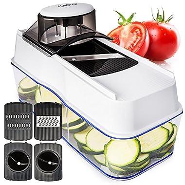 Mandoline Slicer Spiralizer Vegetable Slicer - Veggie Slicer Mandoline Food Slicer with Julienne Grater - V Slicer Mandoline Cutter - Vegetable Cutter Zoodle Maker - Vegetable Spiralizer