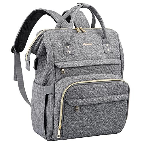 LOVEVOOK Laptop Rucksack Damen wasserdichte Rucksäcke mit 15,6 Zoll laptopfach, Rucksacktasche mit USB-Ladeanschluss Rucksack für Arbeit Lehrer Büro, Grau
