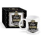 Framan Taza Cerámica para Desayuno en Color Blanco de 300 ml, Un Regalo Original para Suegros - El Mejor SUEGRO del Mundo!
