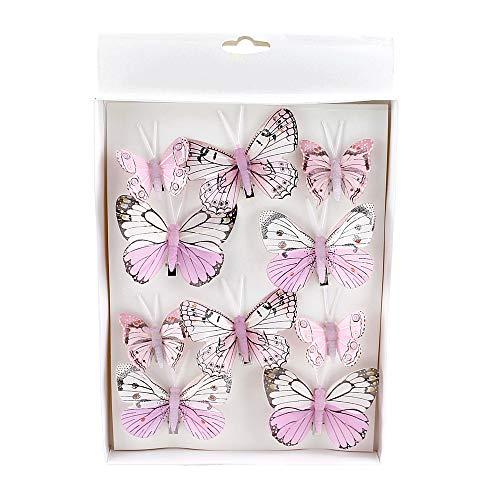 TGG 10 St. Schmetterlinge Mix mit Clip 2 Größen Sortiment / 041 rosa