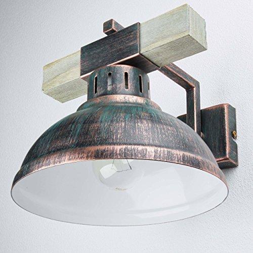 Preisvergleich Produktbild Wandleuchte Vintage Kupfer Antik 1x E27 bis zu 60W 230V Leuchte Holz und Metall Wandlampe Industrie Retro Leuchten Esszimmer Küche Wohnzimmer Beleuchtung