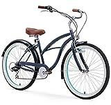 sixthreezero Women's 7 Speed 26-Inch Beach Cruiser Bicycle, Classic Dark Blue w/Brown Seat/Grips