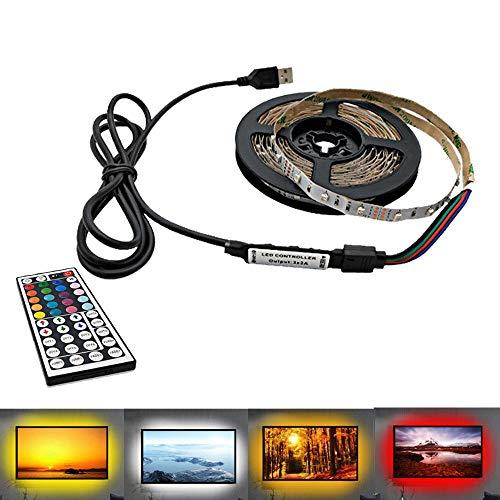H/A Barra de lámpara LED USB, 2835 SMD DC5V flexible tira de luz LED 5M HD TV pantalla de escritorio AZHAA (color: 44 teclas RGB, tamaño: 5 m)