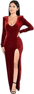 Women's Velvet Long Bodycon Side Slit Formal Evening Gown V Neck Maxi Dresses