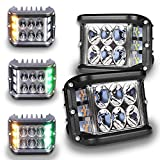 LED Pod Lights, HOYUZA 4inch Side Shooter LED Pods with Yellow & Green Dual Color Strobe Cree Pods for Farm Tractor Plow Truck ATV UTV