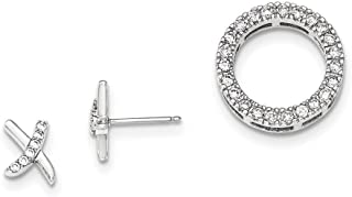 Sterling Silver Cubic Zirconia Circle Slide Pendant and X Stud Earrings Set