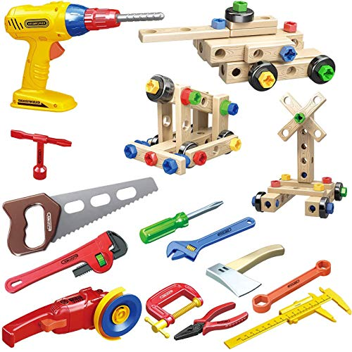 Gifts2U Toy Tool Set 86pcs Realistic Pretend Construction Toy Include Drill, Wrench, Sander Toy, and Screw Toy Build up Tank Construction Cars STEM Tool Set for Boys Girls 3 Years up (Yellow)