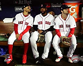 The Boston Red Sox Andrew Benintendi, Mookie Betts, and Jackie Bradley Jr. During the 2018 World Series At Fennway Park. 8x10 Photo Picture