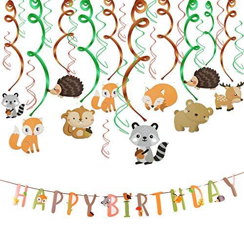 HOWAF 30 teilig Tier Party deko Hängedekoration Wald Deckenhänger Spiral Girlanden und Happy Birthday Banner für Junge und Mädchen geburtstagsdeko Kinder Geburtstags Dekoration