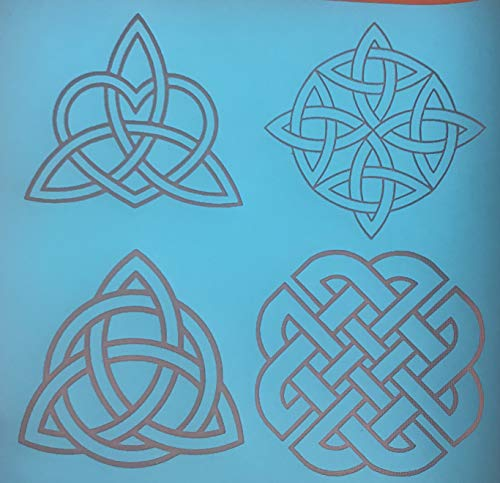 Silkscreen Stencil 4 Celtic Knots Irish Patterns Multi Image for Polymer Clay and Mixed Media