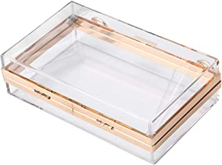 FENICAL Clutches Bags Acrylic Transparent Box Shoulder Bags for Wedding Party Evening Purse