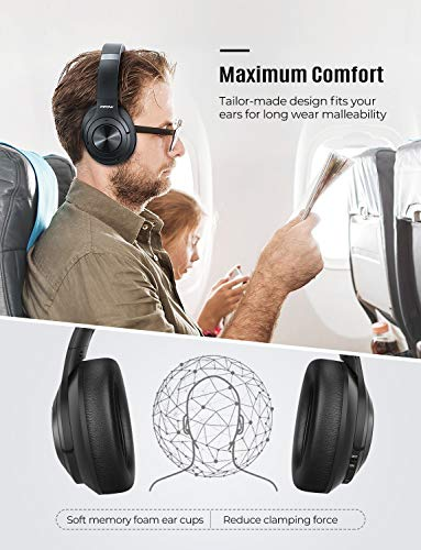 Mpow H21 Hybrid Noise Cancelling Headphones, 65H Playtime Wireless Headphones w/Built-in Mic, Bluetooth 5.0, HD Stereo Sound, Wired/Wireless Headset for Travel, Online Class, Home Office, TV 4
