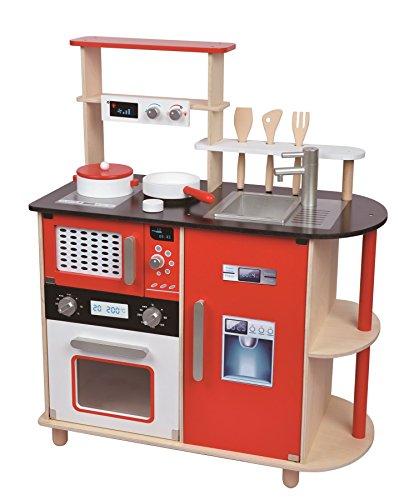 Lelin Juguete moderno de cocina de madera para niños con ollas y sartenes