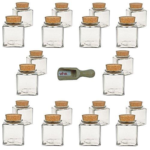 Viva Haushaltswaren - 20 x kleines Gewürzglas eckig 100 ml, Glasdose mit Korkverschluss als Gewürzdose & Vorratsdose für Gewürze, Salz etc. verwendbar (inkl. kleiner Holzschaufel 7,5 cm)