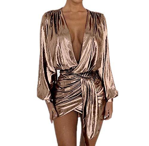 Damen Metallic Wetlook Clubwear Minikleid Langarm V-Ausschnitt Lässig Sexy Ausgeschnitten Laterne Ärmel Club Party Kleider