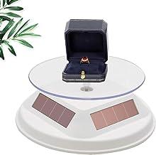 حامل عرض بالطاقة الشمسية قابل للدوران 4.7 بوصة، حامل دوار 360 درجة من أجل مجسمات Jewelar Collectibles (لون أبيض)