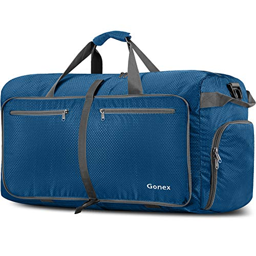 Gonex 150L Travel Duffel Bag Foldable Water Resistant Travel Bag Lightweight Duffel Bag with Big Capacity for Luggage Gym Sports Blue