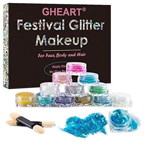 Glitzer Make up für Gesicht, Körper und Haare – Chunky Festival Glitzer Gel für Lippen, Body Glitzer Sequin – Haarglitter für Partys und Karneval - 12 Farben
