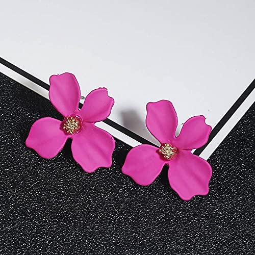 XAOQW Moda Dulce Pendientes Lindos descripción Boho Estilo Lindo Pendientes de Flores Damas Chicas Joyas de Boda Regalos-Fucsia