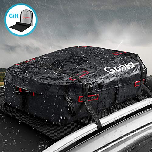 Gonex Rooftop Cargo Carrier Bag, Waterproof Car Top Carriers 11 Cubic Feet Heavy Duty Roof Cargo Bag with Protective Mat for Vehicles with or Without Racks, Black Red
