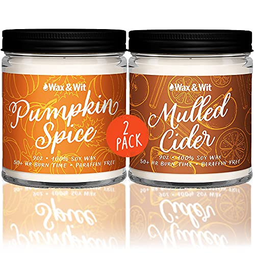 Wax & Wit Fall Candles - Fall Decor, Pumpkin Spice and Mulled Cider Fall Scented Candles for Home- 9oz Fall Scented Candles (2 Pack)