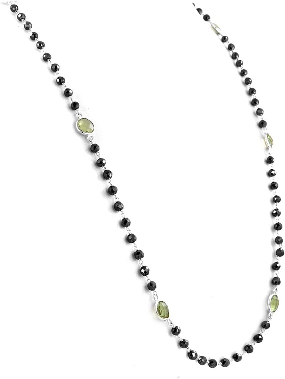 Skyjewels 32 inches, 3mm Black Diamond & Green Amethyst Beads Long Necklace