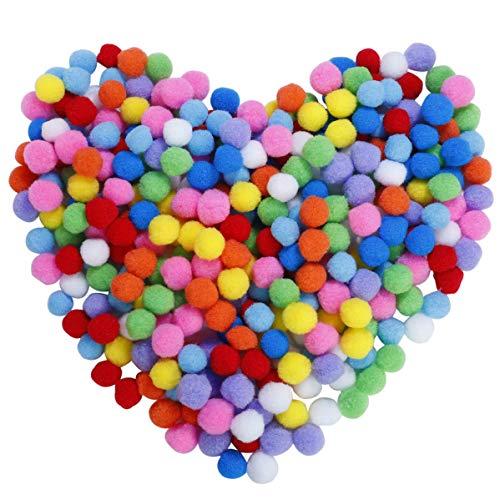 Pompones de Colores Mini Pompoms Multicolor Bola para Bricolaje, Manualidades y decoraciones Artesanía para Hobby Suministros 2.5cm /1 pulgada para Niños Creativo Elásticos (300 piezas)