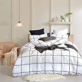 Wellboo White Plaid Duvet Covers Grid Twin Black and White Bedding Cover Cotton Large Plaid Checkered Covers White Geometric Square Bedding Sets Women Men Teens Dorm Duvet Cover Soft Durable No Insert