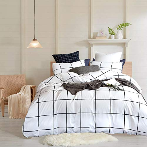 Wellboo White Grid Duvet Cover Cotton Plaid Checkered Bedding Cover Sets Queen Full Adult Women Men Quilt Covers Large Plaid Black and White Duvet Cover Geometric Modern Lines Soft Health No Insert