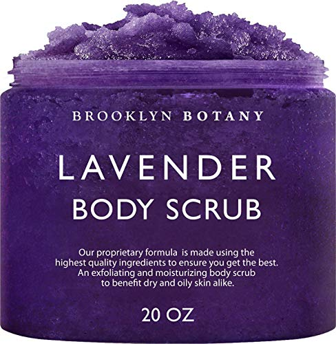 Brooklyn Botany Lavender Oil Body Scrub and Face Scrub – Moisturizing and Exfoliating Body Scrub -Fights Acne, Wrinkles, Dark Circles, Fine Lines and Signs of Aging - For Soft and Young Skin – 20 oz