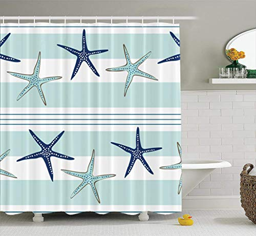 LALILO Sea-Star-Beach Decorative Shower Curtain with 12 Hooks, Coastal Starfish Repeat Pattern Navy Blue Blue and No Chemical Odor, Durable Waterproof 72 W X 78 L Polyester