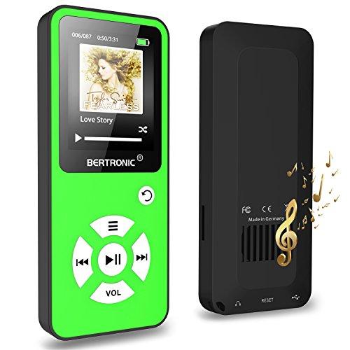 BERTRONIC MP3-Player 16 GB Royal BC01-100 Stunden Wiedergabe, Lautsprecher, Kopfhörer, Schrittzähler, Hörbücher, FM Radio, Wecker, mit microSD Kartenslot für bis 128 GB microSD Karten - Grün