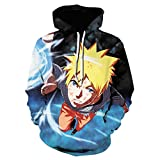 RENEO Manga Larga Jersey para Fanes de Anime,Anime Naruto Naruto Sudadera con Capucha Impresa En 3D-...