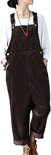 Women's Casual Loose Baggy Corduroy Bib Overalls Wide Leg Pants Jumpsuits