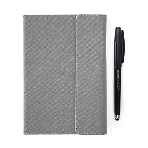 Outliers Notebook - Notizbuch/digitalisierbar und wiederverwendbar/in der Mikrowelle löschen/inkl. App/224 Seiten, A5, Jahres- und Monatsplaner/Gewohnheitstracker uvm., Hellgrau