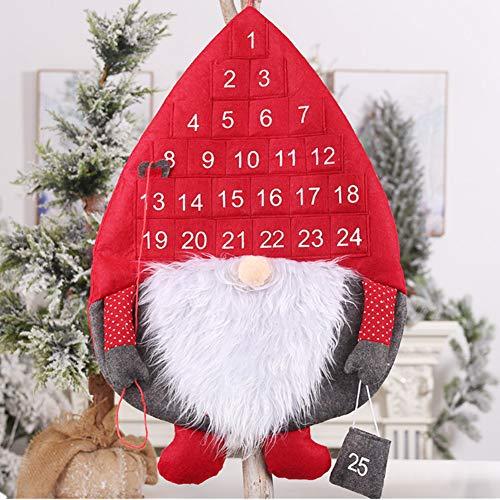 Kerstmis Adventskalenders 2019, 24 dagen jute opknoping adventskalenders slinger snoep geschenkzakken zakken doe-het-zelf Xmas countdown decoraties voor muur thuiskantoor Rood