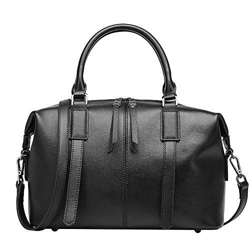 5 ALL Elegant Tasche Echtleder Damen Handtasche Schultertasche Bowlingtaschen (Schwarz)