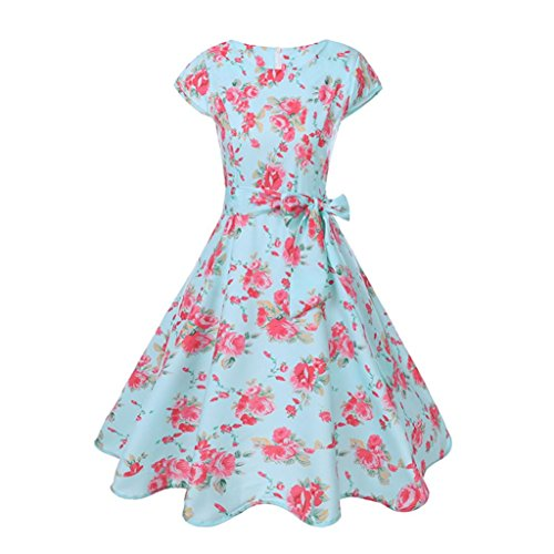 LuckyGirls 50s Retro Vintage Rockabilly Kleid Partykleider Cocktailkleider Elegant Ärmellos Faltenrock (Hellblau, M)