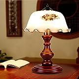 GMLSD Bordslampor, Träbordslampa E27 Ljuskälla Glas Lampskärm Massiv Trä Skrivbordslampa Dra Strömbrytare Konst Sänglampa För Sovrumsstudie,Knapp