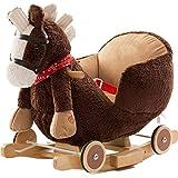 BAKAJI Cavallo a Dondolo in Legno Struttura Basculante con Ruote Cavallino Poni 2 in 1 con Poltroncina e Divertente suoneria per i più Piccoli (Marrone Scuro)