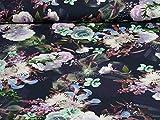 Swafing Jersey Baumwolle Mandy - Blumen, dunkelblau (25cm x