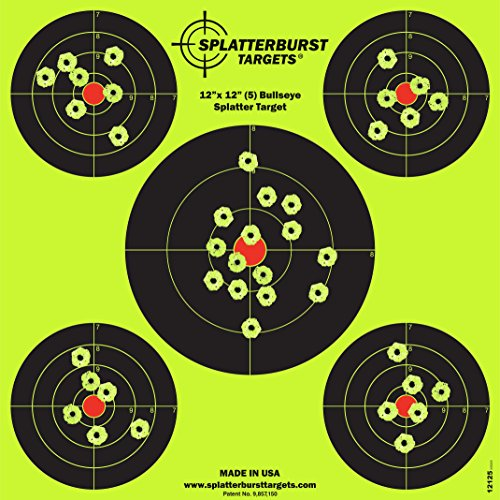 Splatterburst Targets - 12 x12 inch (5) Bullseye Reactive Shooting Target - Shots Burst Bright Fluorescent Yellow Upon Impact - Gun - Rifle - Pistol - Airsoft - BB Gun - Air Rifle (50 Pack)